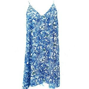 LUSH BLUE WHITE FLORAL SLIP MINI DRESS!